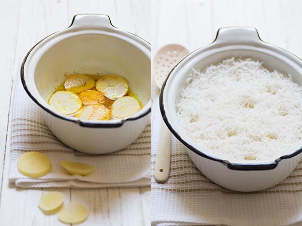 אורז פרסי בטהדיג תפוחי אדמה
